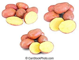 Pink Potato Sweet Batata Set Isolated on White Background...