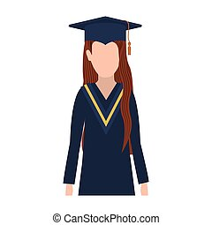 half body woman with graduation outfit and brown hair vector...