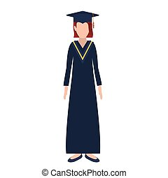 silhouette woman with graduation outfit and redhair vector...