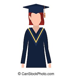 half body woman with graduation outfit and straigth redhair...