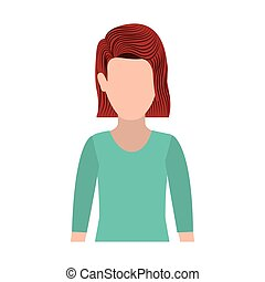 half body silhouette woman with redhair vector illustration