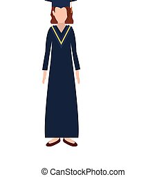 silhouette woman with graduation outfit and short hair -...