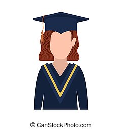 half body woman with graduation outfit and redhair vector...