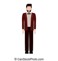 silhouette man with formal suit and bowtie vector...