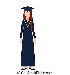 silhouette woman with graduation outfit and long redhair...