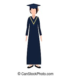 silhouette woman with graduation outfit