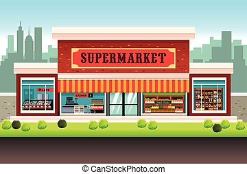 Supermarket Grocery Store - A vector illustration of a...