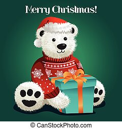 Bear Stuffed Toy Celebrating Christmas - A vector...