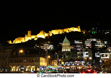 Night view of the Tbilisi Old Town