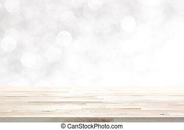 Wood table top on abstract white bokeh, Christmas and...