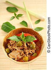 Pork red curry. - Pork red curry Thai food style.