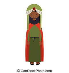colorful arabic man with turban and beard vector...