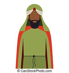 colorful arabic man half body with turban and beard without...