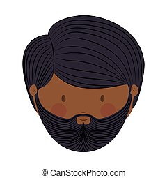colorful arabic man head without turban and beard vector...