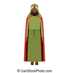 colorful arabic man with turban and beard without a face...