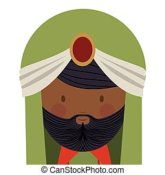 colorful arabic man head with turban and beard vector...