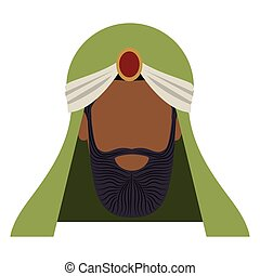 colorful arabic man head with turban and beard without a...