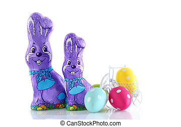 Chocolate easter day. - Decoration chocolate and eggs easter...