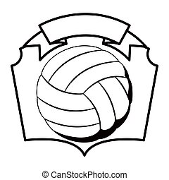 gray scale emblem with volleyball ball vector illustration