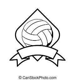 gray scale volleyball tournament emblem with ball vector...