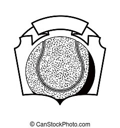 gray scale emblem with tennis ball vector illustration