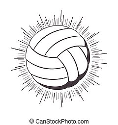 gray scale silhouette with volleyball ball vector...