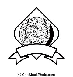 gray scale tennis tournament emblem with ball vector...