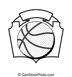gray scale emblem with basketball ball vector illustration