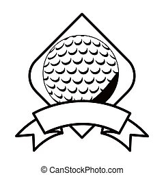 gray scale golf tournament emblem with ball vector...