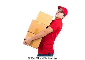 Delivery man carrying heavy boxes