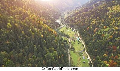 Aerial Flight in Carpathian mountains. - Aerial Drone...