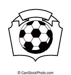 gray scale emblem with soccer ball vector illustration