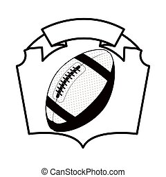 gray scale emblem with football ball vector illustration