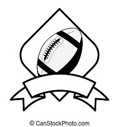 gray scale football tournament emblem with ball vector...