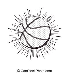 gray scale silhouette with basketball ball vector...