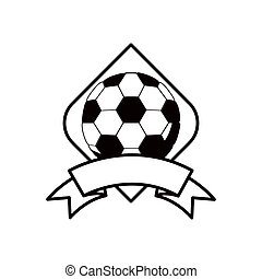gray scale soccer tournament emblem with ball vector...