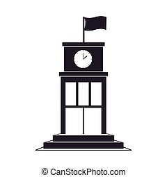 black silhouette structure with flag and clock vector...