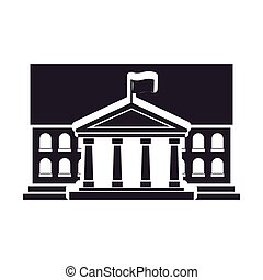 Black silhouette town hall structure with flag vector...