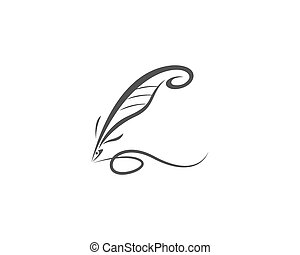 Feather pen Logo Vector - Vector logo design element on...