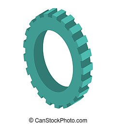 tridimensional silhouette blue gear wheel icon vector...