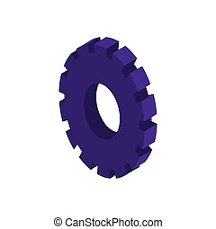 tridimensional silhouette purple gear wheel icon vector...
