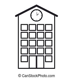 silhouette high school structure with clock vector...