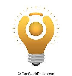 abstract figure human of bulb light