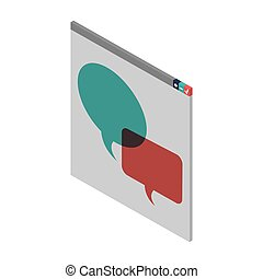 window with dialog boxes in color vector illustration