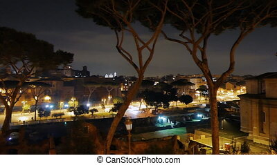 Capitol Hill. Via dei Fori Imperiali. Night. Rome, Italy....