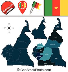 Map of Cameroon with Named Regions - Vector map of Cameroon...