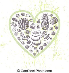 Ink hand drawn fruits in heart shape