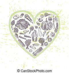 Ink hand drawn veggies in heart shape - Healthy eating...