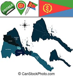 Map of Eritrea with Named Regions - Vector map of Eritrea...
