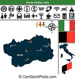 Aosta Valley with regions, Italy